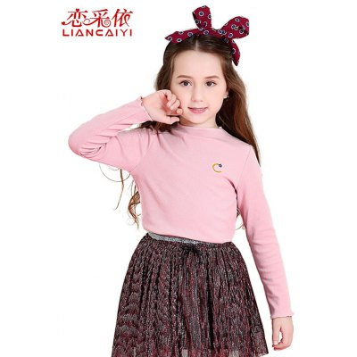 Liancaiyi Long Sleeve Solid Color Girls Cotton T-shirt