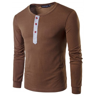 WHATLEES Contrast Placket Long Sleeve T Shirts