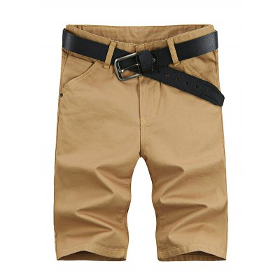 UYUK Solid Color Middle Waist Men Half Shorts