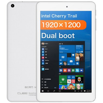 CUBE iWork8 Air Tablet PCFeatured Tablets<br>CUBE iWork8 Air Tablet PC<br><br>3.5mm Headphone Jack: Yes<br>AC adapter: 100-240V 5V 2A<br>Additional Features: Bluetooth, Gravity Sensing System, MP3, HDMI, MP4, Wi-Fi<br>Back camera: 2.0MP<br>Battery Capacity(mAh): 3.7V / 3500mAh<br>Bluetooth: Yes<br>Brand: Cube<br>Camera type: Dual cameras (one front one back)<br>Core: 1.44GHz, Quad Core<br>CPU: Intel Cherry Trail x5-Z8350<br>CPU Brand: Intel<br>E-book format: TXT, Word, PDF, PowerPoint<br>English Manual : 1<br>External Memory: TF card up to 128GB (not included)<br>Front camera: 2.0MP<br>G-sensor: Supported<br>Google Play Store: Supported<br>GPU: Intel HD Graphic(Gen8)<br>MIC: Supported<br>Micro HDMI: Yes<br>Micro USB Slot: Yes<br>MS Office format: Word, Excel, PPT<br>Music format: DTS (need license), WMA, WAV, OGG, MP3, FLAC, AAC, AC-3, APE<br>Office 365: Support (Not Downloaded)<br>OS: Windows 10 + Android 5.1<br>OTG Cable: 1<br>Package size: 26.00 x 17.00 x 5.50 cm / 10.24 x 6.69 x 2.17 inches<br>Package weight: 0.6050 kg<br>Picture format: PNG, JPG, JPEG, GIF, BMP<br>Pre-installed Language: Windows OS is built-in Chinese and English, and other languages need to be downloaded by WiFi. Android OS supports multi-language<br>Product size: 21.30 x 12.70 x 0.98 cm / 8.39 x 5 x 0.39 inches<br>Product weight: 0.3140 kg<br>RAM: 2GB<br>ROM: 32GB<br>Screen resolution: 1920 x 1200 (WUXGA)<br>Screen size: 8 inch<br>Screen type: Capacitive (5-Point), IPS<br>Skype: Supported<br>Speaker: Supported<br>Support Network: WiFi<br>Tablet PC: 1<br>TF card slot: Yes<br>Type: Tablet PC<br>USB Cable: 1<br>Video format: H.265, 1080P, AVS, MPEG1, MPEG2, MPEG4, MVC, RMVB, VC-1, H.264, H.263, MP4<br>WIFI: 802.11b/g/n wireless internet<br>Youtube: Supported