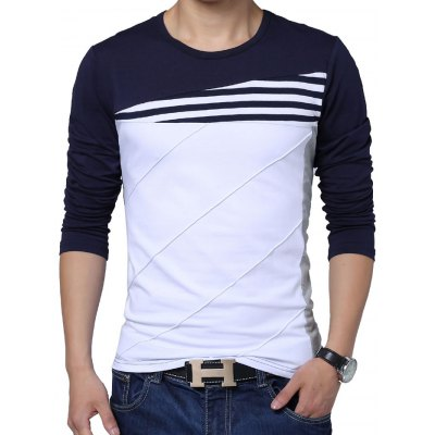 Long Sleeve Color Block Men T-shirt
