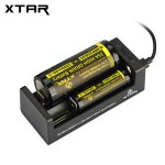 Xtar MC2 0.5A Mini USB Battery Charger Compatible with 18500 18650 18700 Batteries (2 Slots)