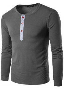 WHATLEES Contrast Placket Long Sleeve Art T-Shirts