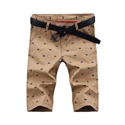 UYUK Printed Tight Middle Waist Men Short Shorts