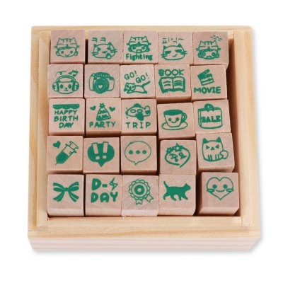 Cartoon Stamper Seal 25 in 1Stamps &amp; Bookmarks<br>Cartoon Stamper Seal 25 in 1<br><br>Color: Brown<br>Material: Wooden<br>Package Contents: 1 x Set of Stamper Seal ( 25 in 1 )<br>Package size (L x W x H): 9.00 x 9.00 x 6.00 cm / 3.54 x 3.54 x 2.36 inches<br>Package weight: 0.1820 kg<br>Product size (L x W x H): 8.00 x 8.00 x 5.00 cm / 3.15 x 3.15 x 1.97 inches<br>Product weight: 0.1600 kg