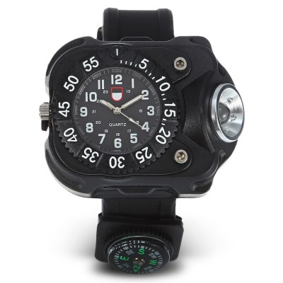 Water-resistant Camping Wrist Watch with LED Light / CompassOther Camping Gadgets<br>Water-resistant Camping Wrist Watch with LED Light / Compass<br><br>Color: Black<br>LED Quantity: 1pc<br>Lumens: 240lm ( max )<br>Modes: 5 Modes<br>Package Contents: 1 x Wrist Watch, 1 x Compass, 1 x USB Cable<br>Package Size(L x W x H): 16.00 x 10.00 x 7.00 cm / 6.3 x 3.94 x 2.76 inches<br>Package weight: 0.1230 kg<br>Product Size  ( L x W x H ): 5.00 x 6.00 x 2.50 cm / 1.97 x 2.36 x 0.98 inches<br>Product weight: 0.0800 kg<br>Working Time: 70 - 100 minutes