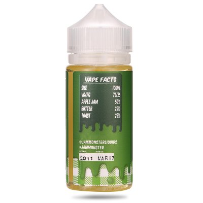 Jam Monster Apple Flavor 100ml / 3mg E-liquidE-liquid<br>Jam Monster Apple Flavor 100ml / 3mg E-liquid<br><br>Accessories type: E-juice<br>Brand: Jam Monster<br>E-Liquid Capacity: 100ml<br>E-Liquid Concentration: 3mg<br>E-liquid Concentration Range: 1-12mg<br>E-Liquid Flavor: Apple<br>E-liquid Flavor Type: Blend series<br>Material: Plastic<br>Package Contents: 1 x Jam Monster Apple Flavor E-liquid 100ml / 3mg, 1 x Pack of Cotton<br>Package size (L x W x H): 12.70 x 5.10 x 5.10 cm / 5 x 2.01 x 2.01 inches<br>Package weight: 0.1630 kg<br>Product size (L x W x H): 4.00 x 4.00 x 11.50 cm / 1.57 x 1.57 x 4.53 inches<br>Product weight: 0.1390 kg<br>Type: Electronic Cigarettes Accessories