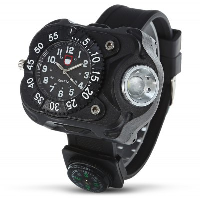 Water-resistant Camping Wrist Watch with LED Light / Compass