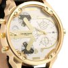 best Shiweibao A3137 Big Dial Golden Case Male Dual Movt Quartz Watch with Leather Band