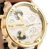 Shiweibao A3137 Big Dial Golden Case Male Dual Movt Quartz Watch with Leather Band deal