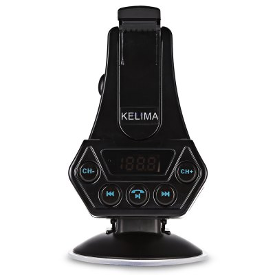 KELIMA Car Bluetooth HolderFM Transmitters &amp; Players<br>KELIMA Car Bluetooth Holder<br><br>Bluetooth Version: V4.0<br>Brand: KELIMA<br>Compatible with: iPhone, Mobile phone<br>Interface: Micro USB, USB 2.0<br>Language: English<br>Package Contents: 1 x Holder, 1 x Base, 1 x Car Charger, 1 x English and Chinese Manual, 1 x 3.5mm Jack Cable<br>Package size (L x W x H): 15.00 x 11.50 x 8.50 cm / 5.91 x 4.53 x 3.35 inches<br>Package weight: 0.2170 kg<br>Product size (L x W x H): 12.50 x 8.60 x 6.50 cm / 4.92 x 3.39 x 2.56 inches<br>Product weight: 0.0920 kg<br>Screen size: No<br>Transmit Distance: 5 - 10m<br>Working Tempreture (Deg.): -20 Deg.C - 80 Deg.C