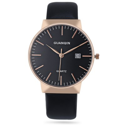 GUANQIN GS19057 Business Men Quartz WatchMens Watches<br>GUANQIN GS19057 Business Men Quartz Watch<br><br>Band material: Genuine Leather<br>Band size: 25.00 x 2.00 / 9.84 x 0.78 inches<br>Brand: GUANQIN<br>Case material: Stainless Steel<br>Clasp type: Pin buckle<br>Dial size: 4.20 x 4.20 x 0.70 cm / 1.65 x 1.65 x 0.28 inches<br>Display type: Analog<br>Movement type: Quartz watch<br>Package Contents: 1 x GUANQIN GS19057 Men Quartz Watch<br>Package size (L x W x H): 14.90 x 9.40 x 2.80 cm / 5.87 x 3.7 x 1.1 inches<br>Package weight: 0.0800 kg<br>Product size (L x W x H): 25.00 x 4.20 x 0.70 cm / 9.84 x 1.65 x 0.28 inches<br>Product weight: 0.0450 kg<br>Shape of the dial: Round<br>Special features: Day<br>Watch color: Black, Black and Golden, Silver and Black, White and Golden, Silver and White<br>Watch mirror: Mineral glass<br>Watch style: Business<br>Watches categories: Men<br>Water resistance : 30 meters<br>Wearable length: 18.00 - 23.00 cm / 7.08 - 9.05 inches