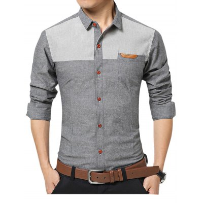 Casual Long Sleeve Color Block Men ShirtMens Shirts<br>Casual Long Sleeve Color Block Men Shirt<br><br>Material: Cotton<br>Package Contents: 1 x Shirt<br>Package size: 40.00 x 30.00 x 2.00 cm / 15.75 x 11.81 x 0.79 inches<br>Package weight: 0.3400 kg<br>Product weight: 0.3000 kg