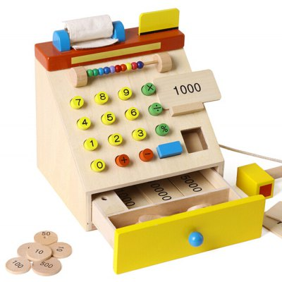 Realistic Wooden Cash Register with Movable Parts