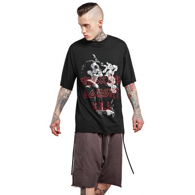 Letter Skull Printed Batwing T Shirts