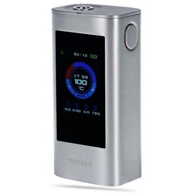 Original Joyetech OCULAR C Touch Screen 150W TC Box ModTemperature Control Mods<br>Original Joyetech OCULAR C Touch Screen 150W TC Box Mod<br><br>Accessories type: MOD<br>APV Mod Wattage: 150W<br>APV Mod Wattage Range: 101-150W<br>Available Color: Black,Silver<br>Battery Cover Type: Sliding, Magnetic<br>Battery Quantity: 2pcs ( not included )<br>Brand: Joyetech<br>Material: Zinc Alloy<br>Mod: Temperature Control Mod,VV/VW Mod<br>Model: OCULAR C Touch Screen 150W<br>Package Contents: 1 x Joyetech OCULAR C Touch Screen 150W TC Box Mod, 1 x English User Manual, 1 x USB Cable<br>Package size (L x W x H): 13.00 x 8.90 x 5.10 cm / 5.12 x 3.5 x 2.01 inches<br>Package weight: 0.4530 kg<br>Product size (L x W x H): 9.10 x 4.50 x 3.20 cm / 3.58 x 1.77 x 1.26 inches<br>Product weight: 0.2590 kg<br>Temperature Control Range: 200 - 600 Deg.F / 100 - 315 Deg.C