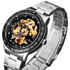 Jijia 8010 Men Mechanical Watch Self - winding Hollow - out Round Dial Stainless Steel Wristband deal