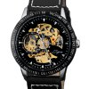 Jijia 8010 Automatic Mechanical Male Watch Hollow - out with Leather Strap Round Dial deal