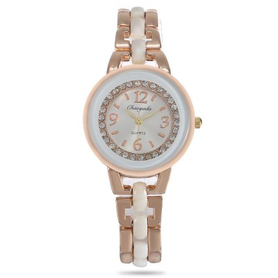 Chaoyada Women Rhinestone Quartz WatchWomens Watches<br>Chaoyada Women Rhinestone Quartz Watch<br><br>Available Color: Black,White<br>Band material: Alloy + Bronze<br>Band size: 21.00 x 1.20 cm / 8.27 x 0.47 inches<br>Case material: Alloy<br>Clasp type: Sheet folding clasp<br>Dial size: 3.20 x 3.20 x 0.90 cm / 1.26 x 1.26 x 0.35 inches<br>Display type: Analog<br>Movement type: Quartz watch<br>Package Contents: 1 x Chaoyada Watch<br>Package size (L x W x H): 8.50 x 8.00 x 5.50 cm / 3.35 x 3.15 x 2.17 inches<br>Package weight: 0.1110 kg<br>Product size (L x W x H): 21.00 x 3.20 x 0.90 cm / 8.27 x 1.26 x 0.35 inches<br>Product weight: 0.0450 kg<br>Shape of the dial: Round<br>Watch style: Casual<br>Watches categories: Female table
