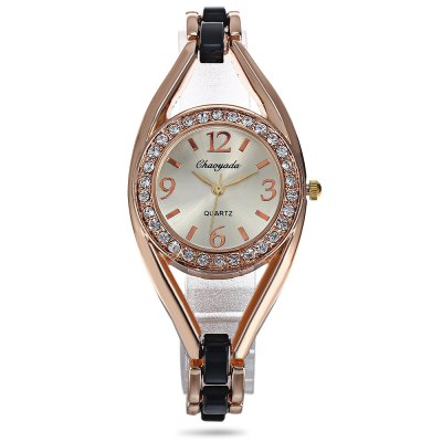 Chaoyada Rhinestone Women Quartz WatchWomens Watches<br>Chaoyada Rhinestone Women Quartz Watch<br><br>Band material: Alloy + Bronze<br>Band size: 19.50 x 1.50 cm / 7.68 x 0.59 inches<br>Brand: Chaoyada<br>Case material: Alloy<br>Clasp type: Sheet folding clasp<br>Dial size: 3.20 x 3.20 x 1.50 cm / 1.26 x 1.26 x 0.59 inches<br>Display type: Analog<br>Movement type: Quartz watch<br>Package Contents: 1 x Chaoyada Female Quartz Watch, 1 x Box<br>Package size (L x W x H): 8.50 x 8.00 x 5.50 cm / 3.35 x 3.15 x 2.17 inches<br>Package weight: 0.0800 kg<br>Product size (L x W x H): 19.50 x 3.20 x 1.50 cm / 7.68 x 1.26 x 0.59 inches<br>Product weight: 0.0400 kg<br>Shape of the dial: Round<br>Watch mirror: Mineral glass<br>Watch style: Wristband Style<br>Watches categories: Women