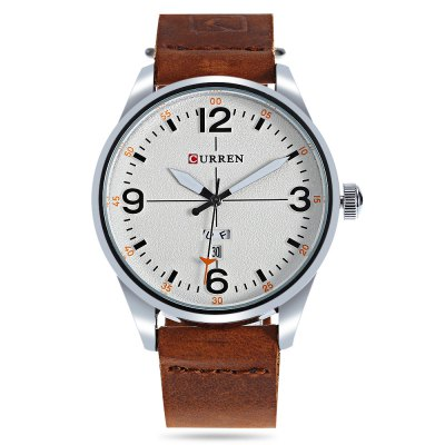 CURREN 8265 Quartz Watch for MenMens Watches<br>CURREN 8265 Quartz Watch for Men<br><br>Band material: Genuine Leather<br>Band size: 24.00 x 2.00 cm / 9.45 x 0.78 inches<br>Brand: Curren<br>Case material: Alloy<br>Clasp type: Pin buckle<br>Dial size: 4.40 x 4.40 x 1.00 cm / 1.73 x 1.73 x 0.39 inches<br>Display type: Analog<br>Movement type: Quartz watch<br>Package Contents: 1 x CURREN 8265 Male Quartz Watch<br>Package size (L x W x H): 11.50 x 8.40 x 6.80 cm / 4.53 x 3.31 x 2.68 inches<br>Package weight: 0.1140 kg<br>Product size (L x W x H): 24.00 x 4.40 x 1.10 cm / 9.45 x 1.73 x 0.43 inches<br>Product weight: 0.0730 kg<br>Shape of the dial: Round<br>Watch color: Black and Green, White and Brown, Black and Brown, Black, Light Brown + Black, Khaki + Black<br>Watch mirror: Mineral glass<br>Watch style: Business<br>Watches categories: Male table<br>Water resistance : 30 meters<br>Wearable length: 18.50 - 23.00 cm / 7.28 - 9.05 inches