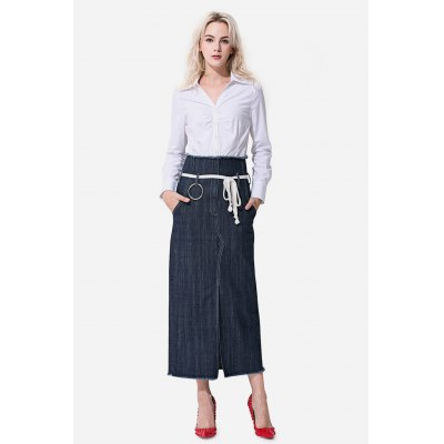 Close-fitting Split Hem Jeans Skirt for WomenSkirts<br>Close-fitting Split Hem Jeans Skirt for Women<br><br>Dresses Length: Tea Length<br>Embellishment: Belted<br>Material: Cotton<br>Occasion: Formal, Work<br>Package Contents: 1 x Skirt<br>Package size: 35.00 x 4.00 x 28.00 cm / 13.78 x 1.57 x 11.02 inches<br>Package weight: 0.3400 kg<br>Pattern Type: Solid Color<br>Product weight: 0.3000 kg<br>Season: Summer, Spring, Fall<br>Silhouette: A-Line<br>Size: L,M,S,XL<br>Style: Work<br>With Belt: Yes