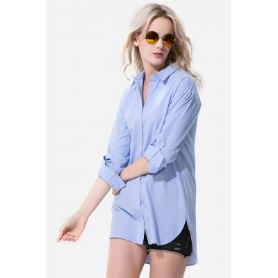 Yilinhongshang Pure Color Three Quarter Sleeve ShirtBlouses<br>Yilinhongshang Pure Color Three Quarter Sleeve Shirt<br><br>Brand: yilinhongshang<br>Collar: Turn-down Collar<br>Elasticity: Nonelastic<br>Material: Cotton<br>Package Content: 1 x Women Shirt<br>Package size (L x W x H): 35.00 x 4.00 x 28.00 cm / 13.78 x 1.57 x 11.02 inches<br>Package weight: 0.3500 kg<br>Pattern Type: Solid<br>Product weight: 0.3000 kg<br>Season: Summer, Spring<br>Shirt Length: Long<br>Sleeve Length: 3/4 Length Sleeves<br>Style: Casual