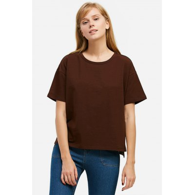 ZANSTYLE Women Crew Neck Side Slit Coffee Tee