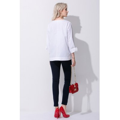Fashion Bowknot Women V-Neck BlouseTees<br>Fashion Bowknot Women V-Neck Blouse<br><br>Clothing Length: Regular<br>Collar: V-Neck<br>Color: White<br>Embellishment: Bowknot<br>Material: Cotton<br>Package Contents: 1 x T-shirt<br>Package size: 36.00 x 4.00 x 28.00 cm / 14.17 x 1.57 x 11.02 inches<br>Package weight: 0.3600 kg<br>Pattern Type: Solid Color<br>Product weight: 0.3200 kg<br>Season: Summer<br>Size: L,M,S<br>Sleeve Length: 3/4 Length Sleeves<br>Sleeve Type: Split Sleeve<br>Style: Fashion