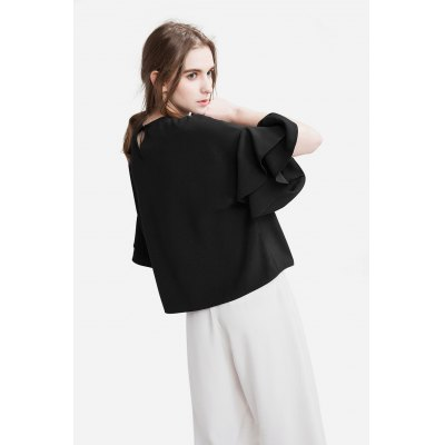 Black Flare Sleeve Chiffon TeeBlouses<br>Black Flare Sleeve Chiffon Tee<br><br>Brand: Dadayuga<br>Clothing Length: Regular<br>Collar: Round Collar<br>Color: Black,White<br>Material: Polyamide<br>Package Contents: 1 x Shirt<br>Package size: 35.00 x 4.00 x 26.00 cm / 13.78 x 1.57 x 10.24 inches<br>Package weight: 0.3000 kg<br>Pattern Type: Solid Color<br>Product weight: 0.2500 kg<br>Season: Spring, Fall, Summer<br>Size: One Size<br>Sleeve Length: Short Sleeves<br>Sleeve Type: Flare Sleeve<br>Style: Fashion