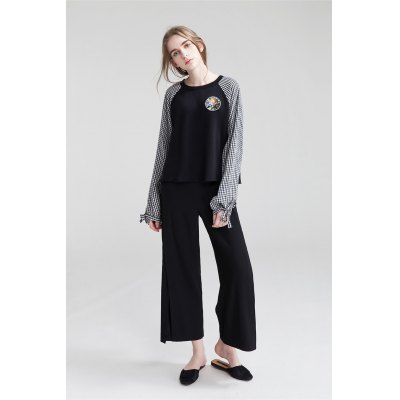 Side Slit Wide Cropped Trousers