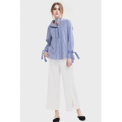 Loose Turn-down Collar Long Sleeve Blouse for Women