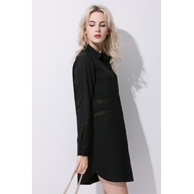 Turn-down Collar Long Sleeve Women Black Chiffon ShirtBlouses<br>Turn-down Collar Long Sleeve Women Black Chiffon Shirt<br><br>Collar: Turn-down Collar<br>Color: Black<br>Elasticity: Nonelastic<br>Embellishment: Mesh<br>Material: 100% Polyester<br>Package Content: 1 x Shirt<br>Package size (L x W x H): 35.00 x 4.00 x 28.00 cm / 13.78 x 1.57 x 11.02 inches<br>Package weight: 0.3400 kg<br>Pattern Type: Solid<br>Product weight: 0.3000 kg<br>Season: Summer<br>Shirt Length: Long<br>Sleeve Length: Long Sleeves<br>Style: Fashion