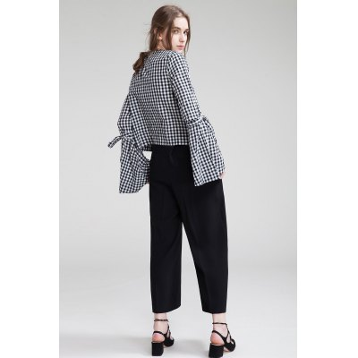 Round Neck Flounced Shirt with Long SleevesBlouses<br>Round Neck Flounced Shirt with Long Sleeves<br><br>Collar: Round Collar<br>Color: Black<br>Elasticity: Micro-elastic<br>Embellishment: Lace up<br>Material: Cotton<br>Package Content: 1 x Shirt<br>Package size (L x W x H): 35.00 x 4.00 x 26.00 cm / 13.78 x 1.57 x 10.24 inches<br>Package weight: 0.3200 kg<br>Pattern Type: Plaid<br>Product weight: 0.2800 kg<br>Season: Spring, Summer<br>Shirt Length: Long<br>Sleeve Length: Long Sleeves<br>Sleeve Type: Flare Sleeve<br>Style: Casual