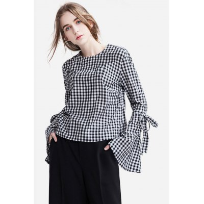 Round Neck Flounced Shirt with Long Sleeves