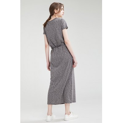 Slim Round Collar Short Sleeve Solid Color Long Dress for WomenMaxi Dresses<br>Slim Round Collar Short Sleeve Solid Color Long Dress for Women<br><br>Dresses Length: Maxi<br>Embellishment: Lace up<br>Material: Polyester<br>Neckline: Round Collar<br>Occasion: Casual<br>Package Contents: 1 x Dress<br>Package size: 36.00 x 3.00 x 27.00 cm / 14.17 x 1.18 x 10.63 inches<br>Package weight: 0.3400 kg<br>Pattern Type: Solid Color<br>Product weight: 0.3000 kg<br>Season: Summer<br>Silhouette: Bodycon<br>Size: L,M,S<br>Sleeve Length: Short Sleeves<br>Style: Brief<br>With Belt: No
