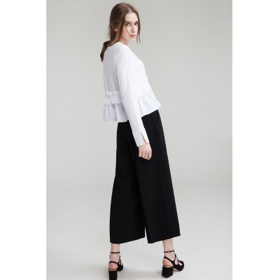 Wide Cropped TrousersPants<br>Wide Cropped Trousers<br><br>Fit Type: Regular<br>Length: Ninth<br>Material: Polyester<br>Package Contents: 1 x Pair of Pants<br>Package Size ( L x W x H ): 35.00 x 4.00 x 28.00 cm / 13.78 x 1.57 x 11.02 inches<br>Package Weights: 0.290kg<br>Pant Style: Wide Leg Pants<br>Waist Type: High