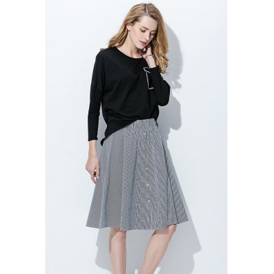 Chic Elastic Waist Single Breasted Striped A-line Skirt