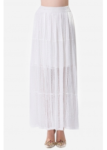 Lace Solid Color Elastic Waist Womens Long Skirt