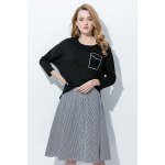 best Chic Elastic Waist Single Breasted Striped A-line Skirt