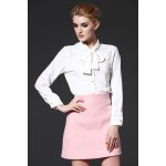 Bowknot Solid Color Women Shirt photo