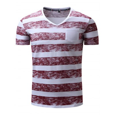 FREDD MARSHALL Striped T Shirts with Front Pocket