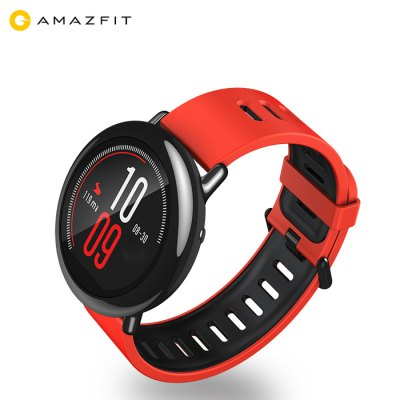 Original Xiaomi AMAZFIT Sports Bluetooth Smart WatchSmart Watches<br>Original Xiaomi AMAZFIT Sports Bluetooth Smart Watch<br><br>Alert type: Vibration<br>Available Color: Black,Red<br>Band material: Silicone<br>Band size: 24.5 x 4 cm / 9.65 x 1.57 inches<br>Battery  Capacity: 280mAh<br>Bluetooth calling: Phone call reminder<br>Bluetooth Version: Bluetooth 4.0<br>Brand: Xiaomi<br>Case material: Ceramic<br>Charging Time: About 3hours<br>Compatability: Android 4.4 / iOS 8.0 and above system<br>Compatible OS: Android<br>Dial size: 4.5 x 4.5 x 1.2 cm / 1.77 x 1.77 x 0.47 inches<br>Health tracker: Heart rate monitor,Pedometer<br>IP rating: IP67<br>Messaging: Message reminder<br>Operating mode: Touch Screen<br>Other Function: Weather forecast, GPS, Alarm, WiFi<br>Package Contents: 1 x Original Xiaomi AMAZFIT Sports Smart Watch, 1 x USB Charging Cable, 1 x Chinese User Manual<br>Package size (L x W x H): 14.60 x 12.60 x 6.00 cm / 5.75 x 4.96 x 2.36 inches<br>Package weight: 0.2520 kg<br>People: Female table,Male table<br>Product size (L x W x H): 24.50 x 4.50 x 1.20 cm / 9.65 x 1.77 x 0.47 inches<br>Product weight: 0.0540 kg<br>RAM: 512MB<br>Remote control function: Remote music<br>ROM: 4GB<br>Shape of the dial: Round<br>Standby time: 5 Days<br>Type of battery: Lithium Polymer Battery<br>Waterproof: Yes