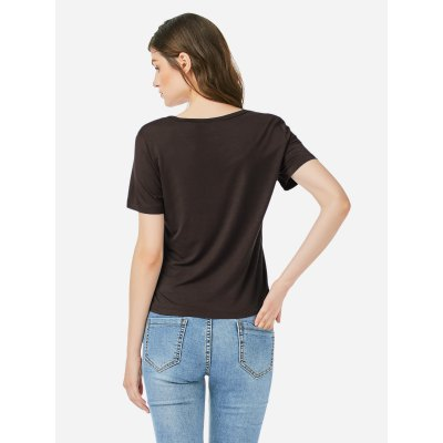 ZANSTYLE Women Crew Neck Coffee T Shirt