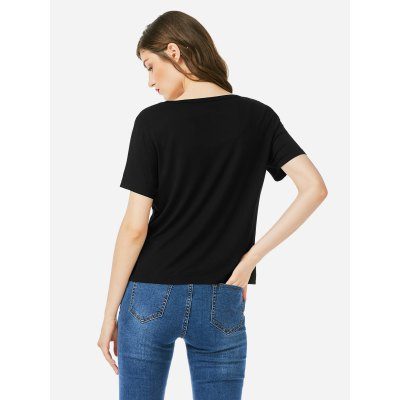 ZANSTYLE Women Crew Neck Black T Shirt