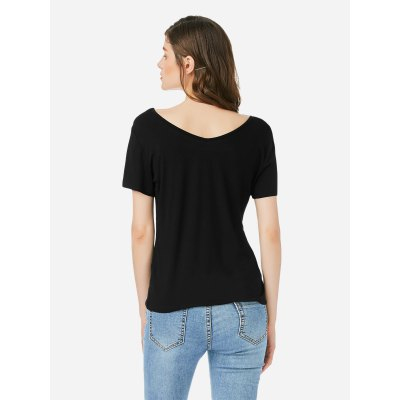 ZANSTYLE Women Lace Up V Neck Black Top Tee
