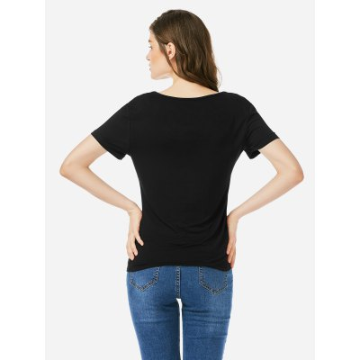 ZANSTYLE Women V Neck Royal White T Shirt