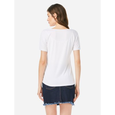 ZANSTYLE Women V Neck Royal White T ShirtTees<br>ZANSTYLE Women V Neck Royal White T Shirt<br>