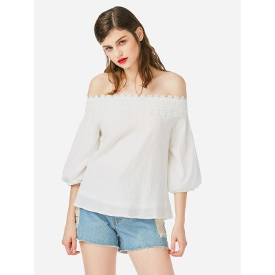 ZANSTYLE Women Off Shoulder Lace White Top