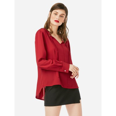 ZANSTYLE Women Long Sleeve Wine Red BlouseBlouses<br>ZANSTYLE Women Long Sleeve Wine Red Blouse<br>